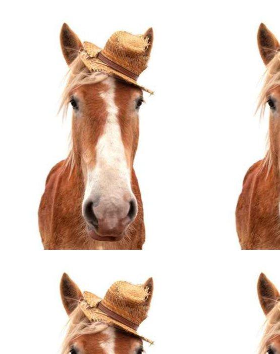 Tapeta Pixerstick Blond belgické tažný kůň nosí slaměný klobouk, při pohledu na diváka hlavu na, na bílém - Zvířata