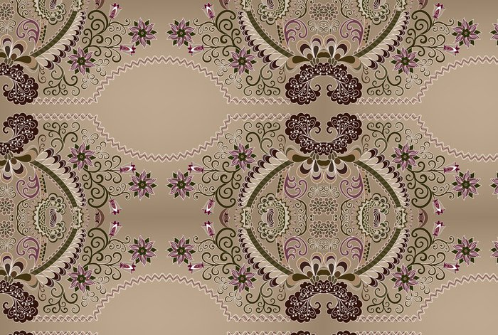 Tapeta Pixerstick Bordó vzor s vlnitými oválného rámu - Styly