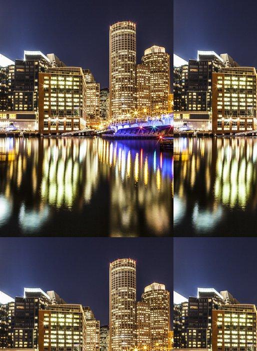 Tapeta Pixerstick Boston přístav a Financial District v noci - Amerika