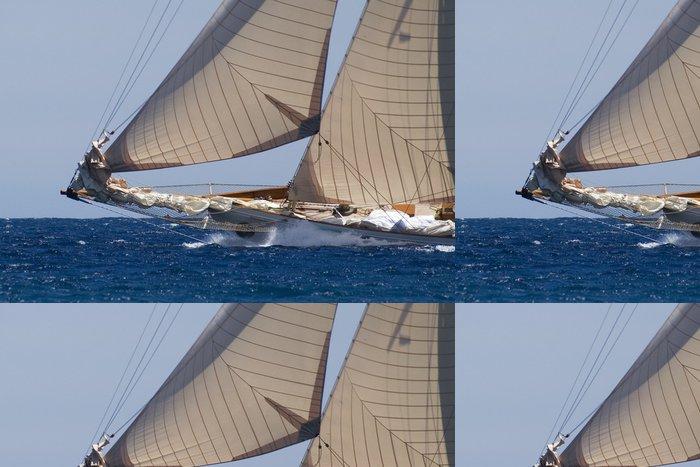 Tapeta Pixerstick Bow velké klasické jachty na plné obrátky - Vodní sporty