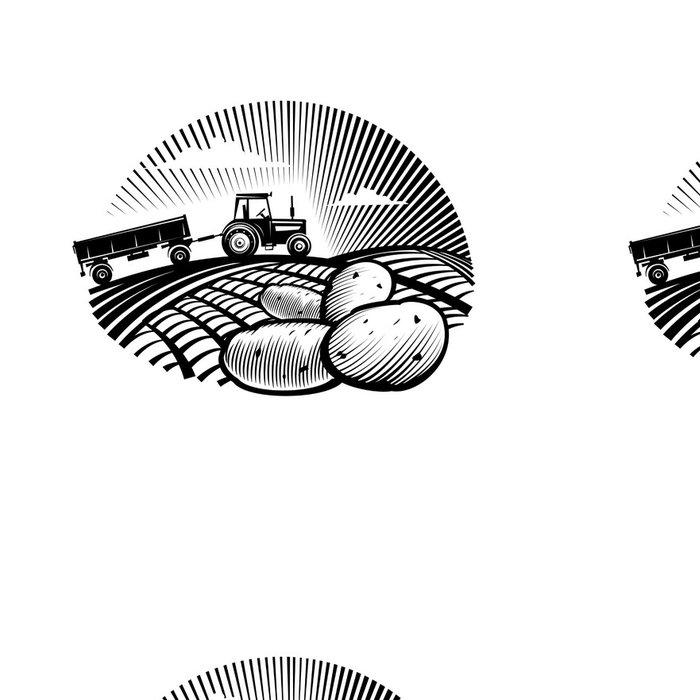 Tapeta Pixerstick Bramborový proti zemědělského traktoru v poli, rytí stylu - Nálepka na stěny