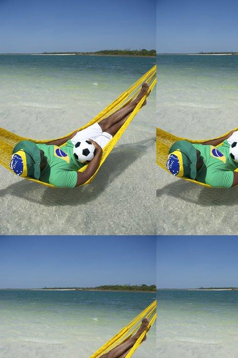 Tapeta Pixerstick Brazilský Relaxační s fotbal fotbal Beach Hammock - Amerika