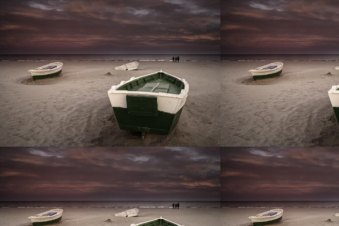 Tapeta Pixerstick Břeh člun - Voda