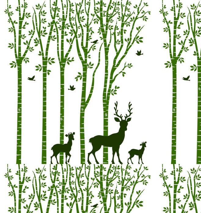 Tapeta Pixerstick Bříza se Deer - Nálepka na stěny