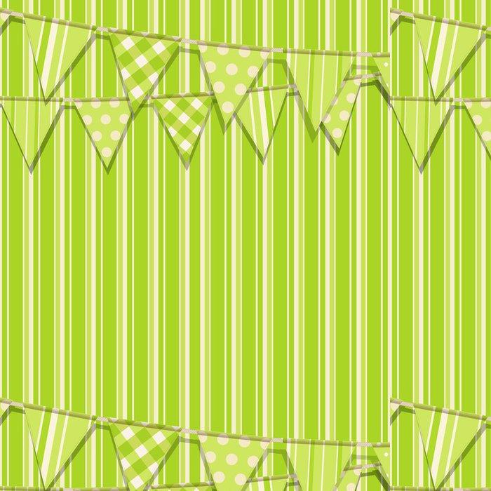 Tapeta Pixerstick Bunting na zeleném pozadí prokládané - Pozadí