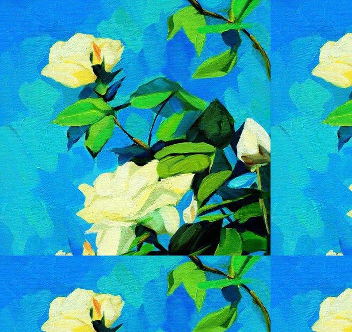 Tapeta Pixerstick Bush bílých růží, malování olejem na plátně - Umění a tvorba