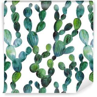 Vinylová Tapeta Cactus vzor ve stylu akvarelu