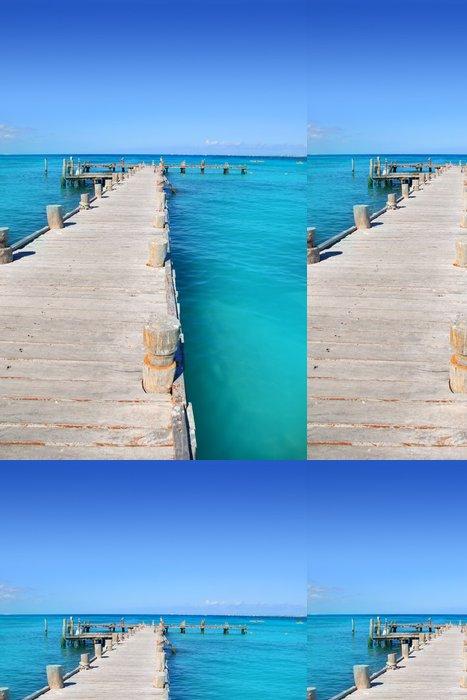 Tapeta Pixerstick Cancun dřevěné molo v tropickém Karibském moři - Témata
