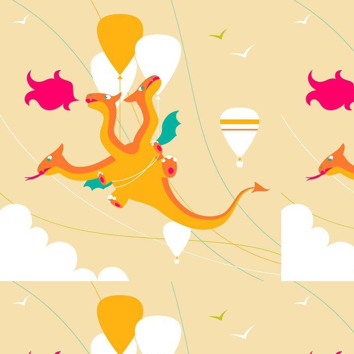 Vinylová Tapeta Cartoon funny trojhlavý drak - Imaginární zvířata