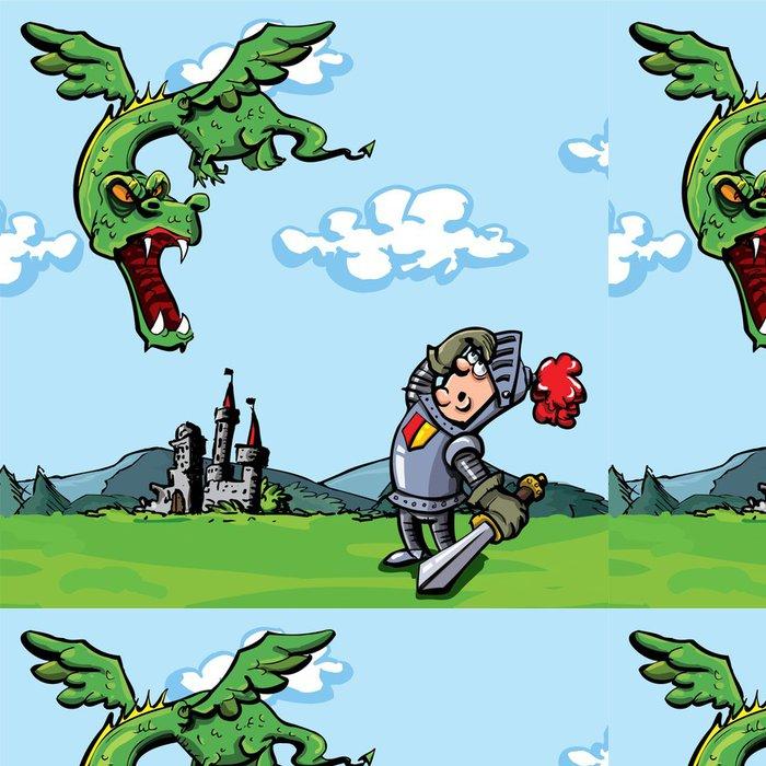 Tapeta Pixerstick Cartoon rytíř napadl drak - Zlost