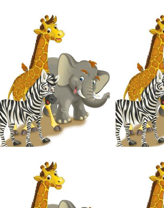 Vinylová Tapeta Cartoon safari - ilustrace pro děti - Pozadí