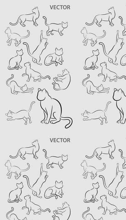 Tapeta Pixerstick Cat Gesture Sketches - Umění a tvorba