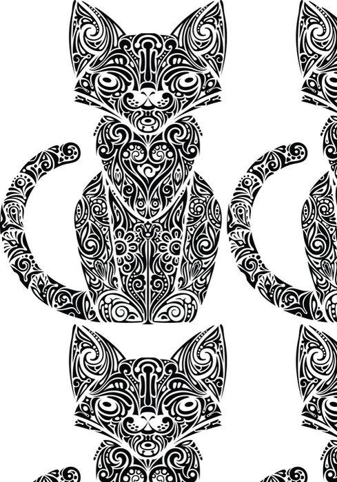 Tapeta Pixerstick Cat vzorované monochromatické - Savci