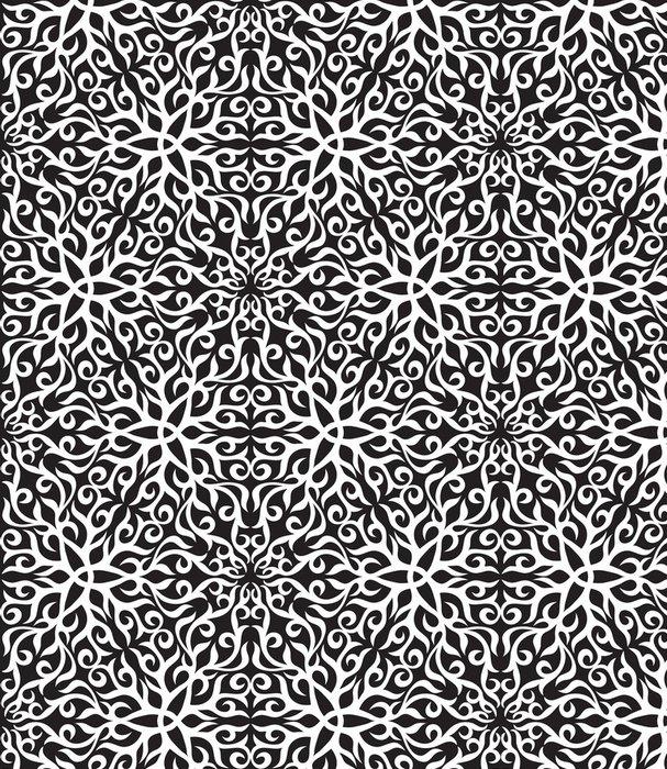 Tapeta Pixerstick Černá a bílá abstraktní ruka-draw bezešvé vzor. - Abstrakce
