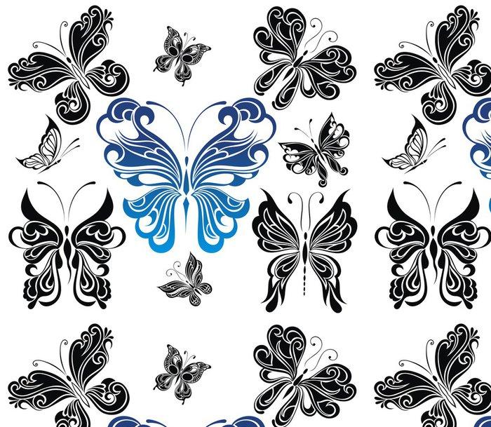 Tapeta Pixerstick Černá a bílá butterflies.Tattoo designu - Imaginární zvířata