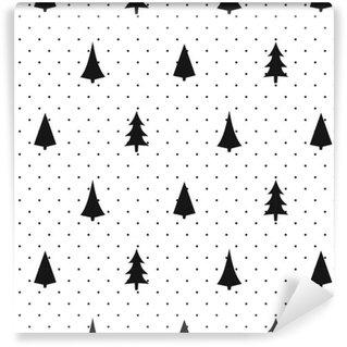 Vinylová Tapeta Černá a bílá jednoduché bezešvé vánoční vzorek - měnit Xmas stromy. Šťastný Nový Rok puntíky na pozadí. Vektoru design pro textilní, tapety, textilie, balicí papír.