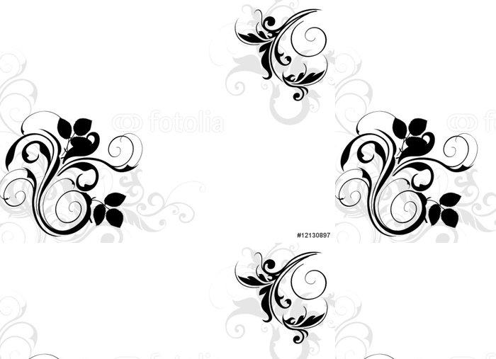 Tapeta Pixerstick Černá a šedá květinový koutek - Nálepka na stěny