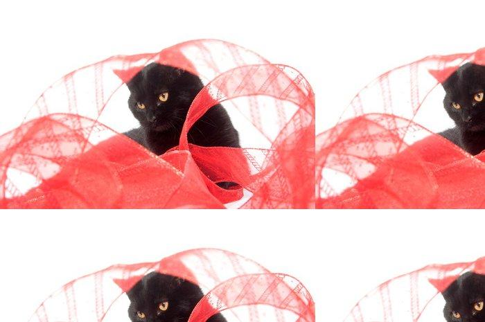 Tapeta Pixerstick Černá kočka a červenou stuhou - Savci