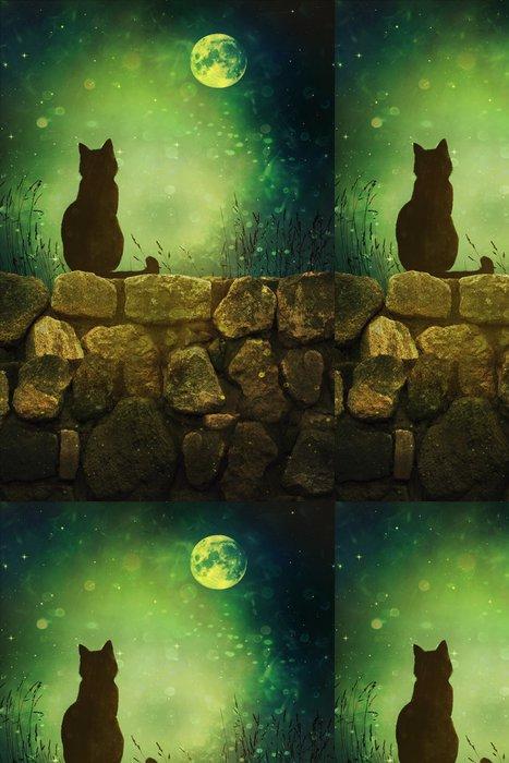 Vinylová Tapeta Černá kočka na skalní stěně Halloween - Pozadí