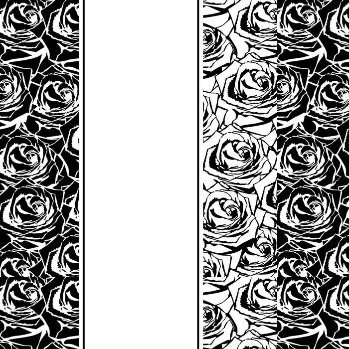 Tapeta Pixerstick Černá silueta růže s listy. - Květiny