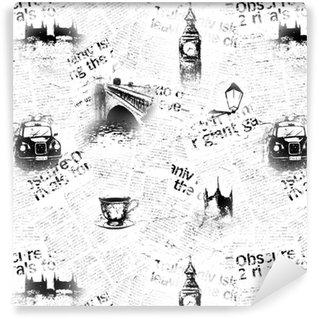 Vinylová Tapeta Černé a bílé londonové noviny na pozadí