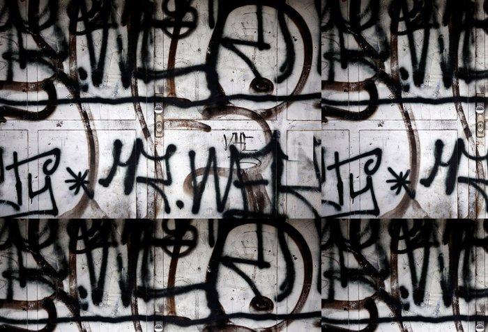 Tapeta Pixerstick Černé graffiti nastříká na dveřním vandalismu - Umění a tvorba