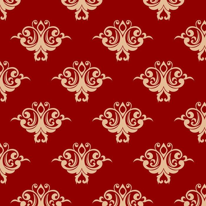 Tapeta Pixerstick Červená na béžové květinové bezproblémové vzorek - Pozadí