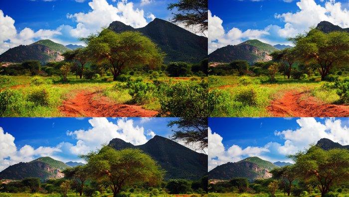 Tapeta Pixerstick Červená země silnice, Bush s savany. Tsavo West, Keňa, Afrika - Témata