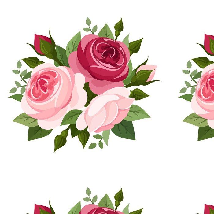 Tapeta Pixerstick Červené a růžové růže. Vektorové ilustrace. - Květiny