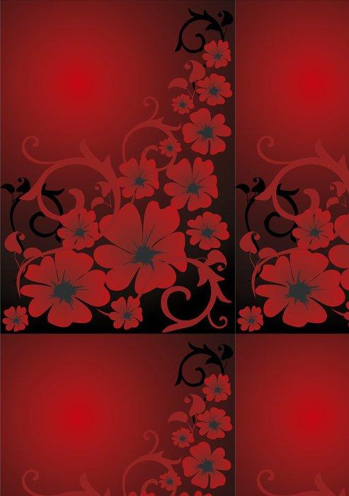 Tapeta Pixerstick Červené květinové pozadí - Pozadí