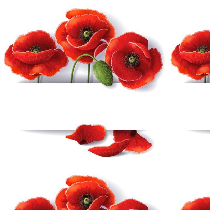 Tapeta Pixerstick Červené květy máku - Květiny