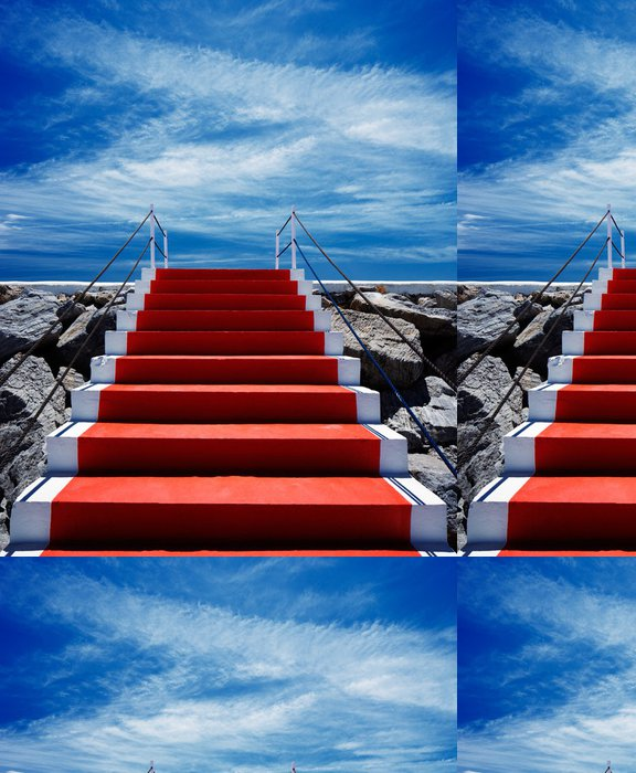 Tapeta Pixerstick Červeném koberci schodiště vedoucí do nebe - Evropa