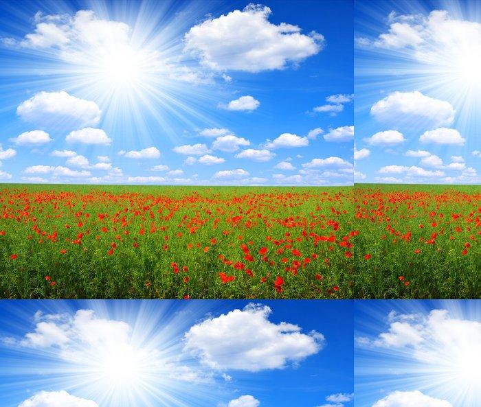 Tapeta Pixerstick Červený mák pole s slunečné oblohy - Zemědělství