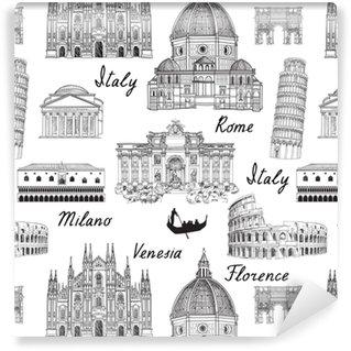 Vinylová Tapeta Cestování evropy pozadí. itálie slavný mezník bezešvé vzor
