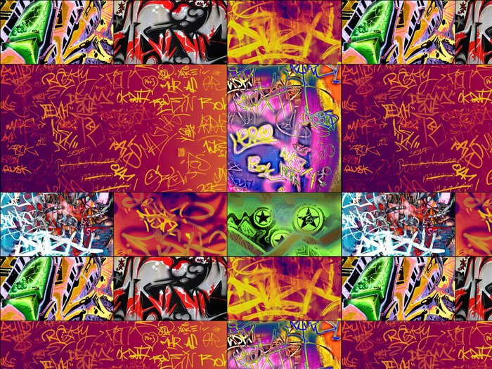 Tapeta Pixerstick Chaotický graffiti stěna pozadí - Pozadí