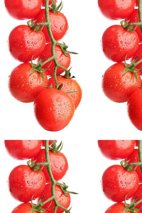 Tapeta Pixerstick Cherry rajčata na větvi s kapkami na bílém - Témata