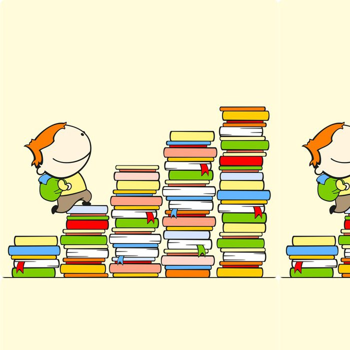 Tapeta Pixerstick Chlapec běží na vrcholu schodiště znalostí -