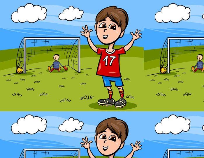 Tapeta Pixerstick Chlapec hrát fotbal kreslené ilustrace - Děti