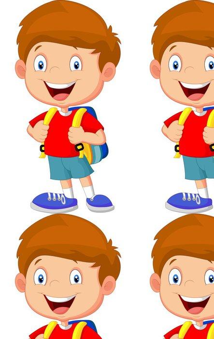 Tapeta Pixerstick Chlapec s batohy - Nálepka na stěny