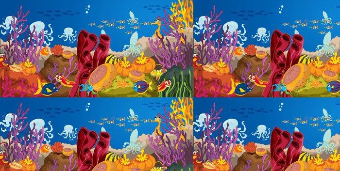 Tapeta Pixerstick Chobotnice a korálů ve vodě - Voda