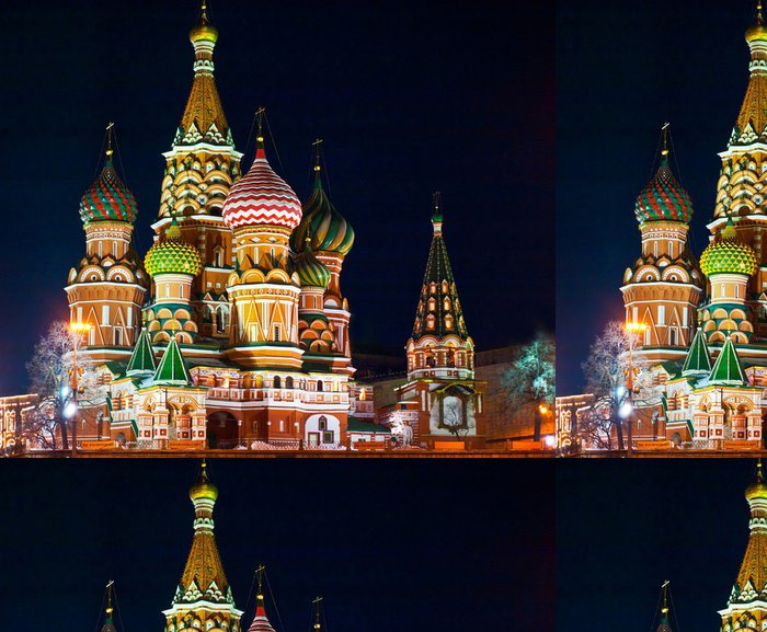 Tapeta Pixerstick Chrám Vasila Blaženého, Rudé náměstí, Moskva - Moskva