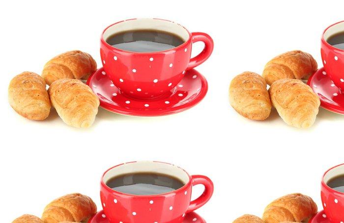 Tapeta Pixerstick Chutné croissanty a šálek kávy na bílém - Jídla