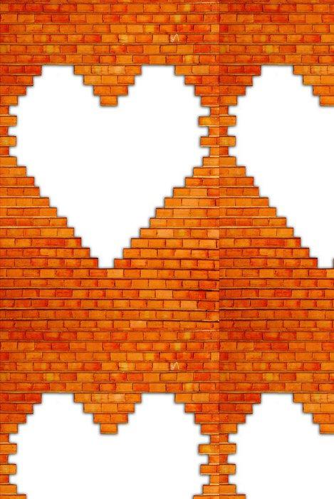 Tapeta Pixerstick Cihlová zeď s tvaru srdce - Pozadí