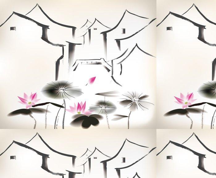 Tapeta Pixerstick Čínská malba - Květiny
