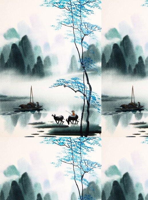Tapeta Pixerstick Čínské krajiny akvarel painting__ - Krajiny
