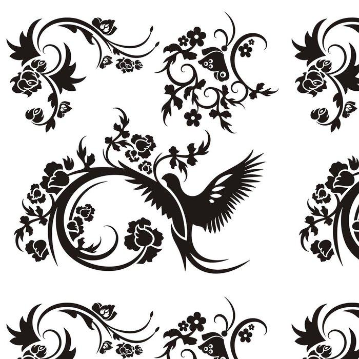 Tapeta Pixerstick Čínské květinové vzory - Nálepka na stěny