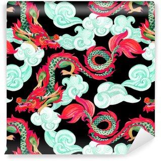 Vinylová Tapeta Čínský drak bezešvé vzor. asijské dračí ilustrace