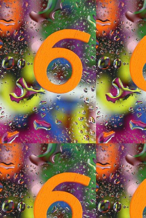 Tapeta Pixerstick Číslo šest na abstraktní barevné pozadí kapky - Aplikované a přírodní vědy