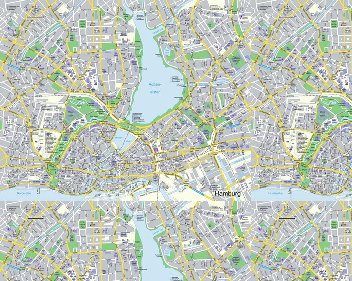 Tapeta Pixerstick Citymap Hamburg - Evropa