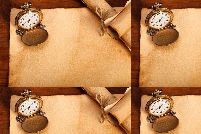 Tapeta Pixerstick Classic kapesní hodinky a staré papíry - Domov a zahrada